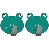 Tatkraft Frogs Gancho Toallero Adhesivo Colgador Infantil para Pared Acero Inoxidable 2 Unidades