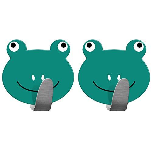 Tatkraft Frogs | Stabile Handtuchhaken Badezimmer, Kinderzimmer | 2 Stück Selbstklebend | Aus robustem Edelstahl| Humorvolles Design für jedes Alter