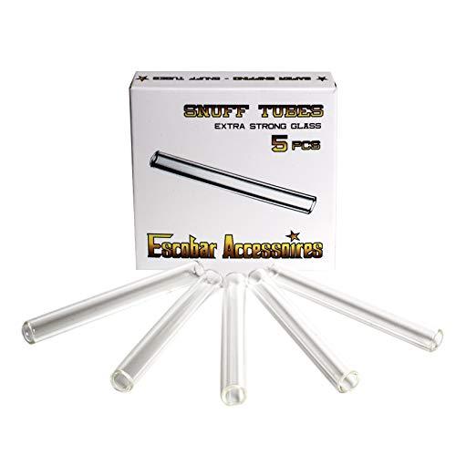 Escobar Accessoires 5 Pippotti in Vetro per sniffare 70 mm per Tabacco da fiuto
