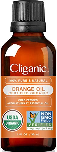 Cliganic USDA Organic Sweet Orange Essential Oil 1oz  100% Pure Natural for Aromatherapy Diffuser | NonGMO Verified