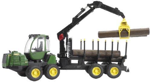 Bruder 02133 John Deere 1210E Rückezug mit 4 Baumstämmen und Holzgreifer