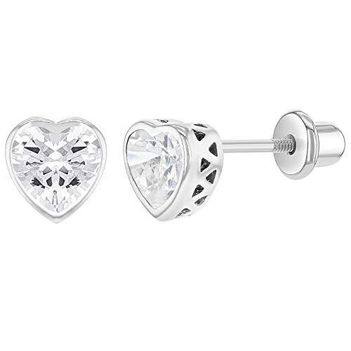 In Season Jewelry - Kinder - Schraubverschluss Ohrringe Herz Kleine 925 Sterling Silber Klarer CZ Zirkonia