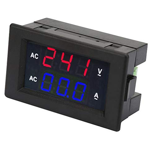 2 in 1 AC Strom Spannungsmesser, Digital Multimeter AC 100~300 V Voltmeter 0-50A Amperemeter Amperemeter LED Digital Display Panel (Rot-Blau)