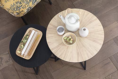 LIFA LIVING 2er Set runde Beistelltische aus MDF Holz und Metall in schwarz und braun, 2X Beistelltische im modernen Design, 2er-Set Couchtische