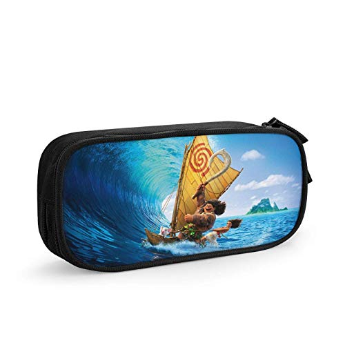 Cartoon Anime Moana Pencil Case Pen Case Ox Stationery Organizer Storage Bag Pouch Box Holder with Double Zipper for Teen Girls Boys Kids Office Students SchoolBla