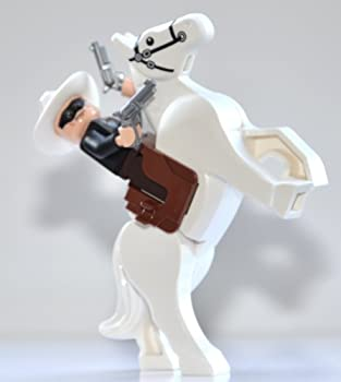 LEGO Lone Ranger Theme - Lone Ranger and Silver  White Rearing Horse  with 2 Revolvers