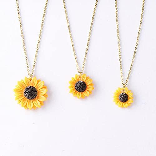 WQZYY&ASDCD Collar De Mujer Collar con Colgante De Girasol para Mujer 1 5Cm 1 8Cm 2 5Cm Collar De Flores De Resina Nueva Serie-M_56Cm