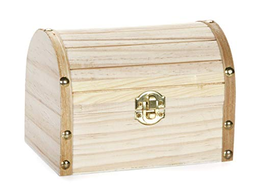 Darice Wood Chest Hinged with Clasp, 6.1 x 4.1 x 4.3-Inch, 6.1' x 4.1' x 4.3', natural