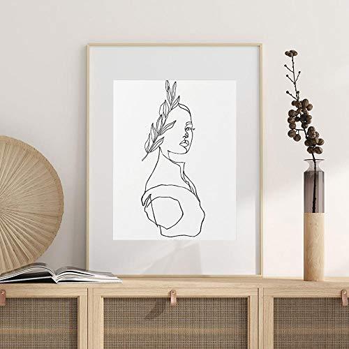 Wandkunst Leinwand Gemälde Aphrodite Print Abstrakte Statue Büste Griechischer Stil Poster Wandkunst Strichzeichnung Schwarz Weiß Wohnkultur 40x60cmx1 ungerahmt