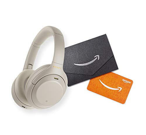 Sony WH-1000XM4 Wireless Industry Leading Noise Canceling Overhead Headphones with Mic for Phone-Call and Alexa Voice Control, Silver with $25 Amazon Gift Card
