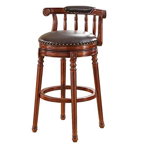 MTCGH Stühle, Hochstühle, Barstühle, Hocker Home Swivel Barhocker Hochwertiger Holzrückenstangenstuhl Hohe Fußstütze Gepolstert,83 cm,83 cm