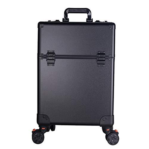Maquillage Valise Trolley Vanity Train grand chariot avec 4 Universal Wheel coiffeur esthéticienne manucure outils professionnels avec mot de passe Lock,3