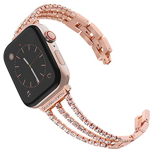 KADES Band Compatibel voor Apple Watch Series 4 Series 5 40mm/44mm, Solid Stainless Steel Link Bracelet Compatibel voor iWatch Series 1,2,3 38mm/42mm, 42mm/44mm, 3-Chain Rose Gold