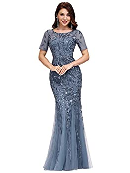 Ever-Pretty Women s Embroidered Mermaid Dress with Sleeve Haze Blue US10