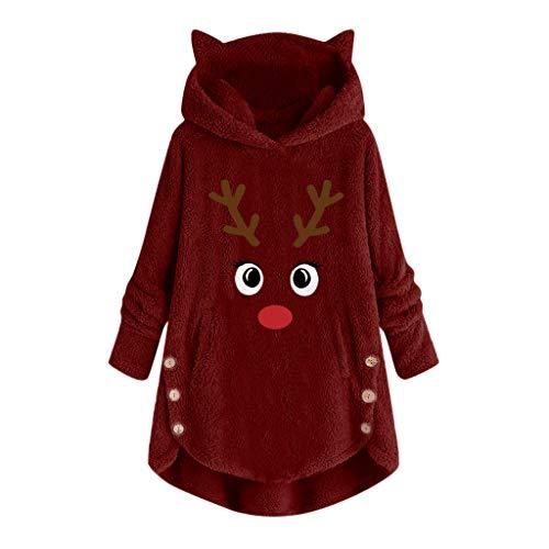 Auiyut Damen Kapuzenpullover Langarm Sweatshirt Plüsch Weihnachten Pullover Casual Winter Hoodie Oversize Mantel mit Kapuze Teddy Fleece Oberteile Leopard oder Farbblock