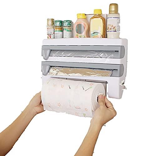 Rack de almacenamiento de pared 3 en 1 para cocina/bañoOrganizador de especias con soporte para toallas de papel/papel de aluminio/dispensador de película conservante(azul)