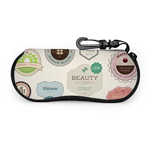Estuche para gafas Letra Retro Etiqueta adhesiva elegante Estuche para gafas de sol para niña Estuche para gafas de moda Estuche ligero portátil Estuche para anteojos para niños pequeños, 17x8cm