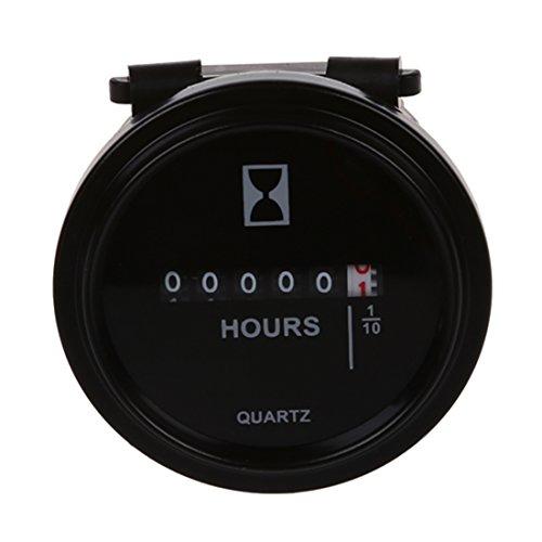 SODIAL(R) Jauge Compteur Horaire a Quartz 6V-80V DC / AC Rond pour Moteur de Bateau / Voiture / Camion