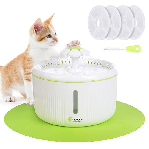 YEACHA Cat Water Fountain, Dog Water Dispenser with 4 Replacement Filters, 70oz/2L Drinking Fountains Bowl with LED Light for Cat and Small Dogs, Multiple Pets