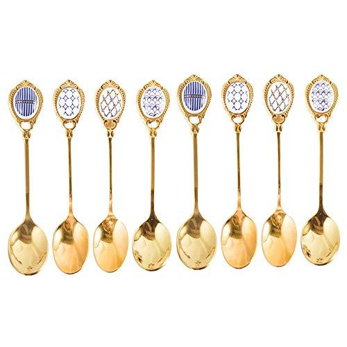 Cucharas de café de acero inoxidable LIDEBLE, cucharillas de cerámica con patrón de cucharilla, cucharones de postre de helado dorado para oficina, restaurante cocina cubiertos