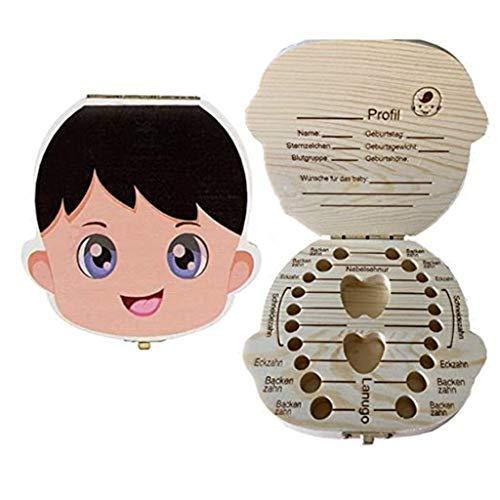 ROUNYY Original Little Milchzähne inkl, Zahnbox für Milchzähne aus Holz für Mädchen und Jungen,Milchzahndose Holz,Geschenkideen zu Taufe und Geburtstag (Kleiner Junge)