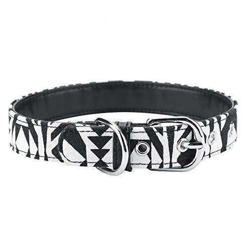 TAKE FANS Verstellbares, bedrucktes Hundehalsband, starkes, weiches Segeltuch, Hundehalsbänder für Haustierzubehör (schwarz, L) langlebig