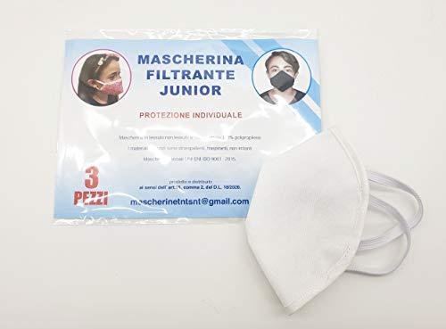 TNT riutilizzabili per bambino, ad uso individuale, lavabili, con elastici - 100% Made in Italy - 3 pz bianco