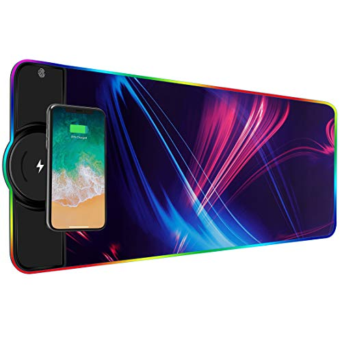 BUANIIH Wireless Chargering RGB Gaming Mouse Pad 10W, Large RGB Gaming Mouse Pad,LED Gaming Keyboard Mat for Home&Office,10 Lighting Modes,Support Qi Fast Charging for Mobile Phone Devices,31.5X11.8in