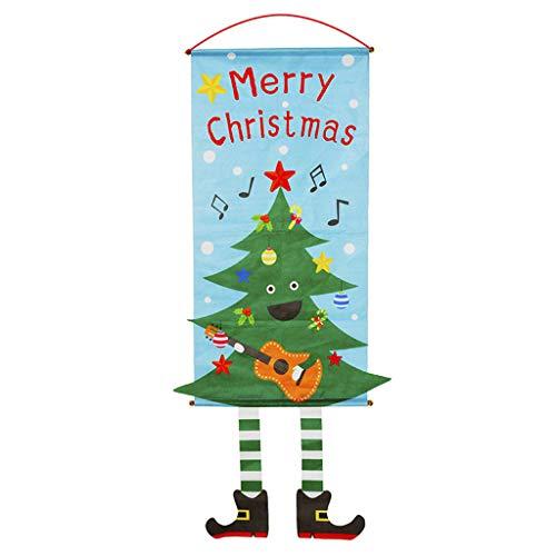 JERFER Adorno De Navidad Feliz Papá Noel Bandera Bandera Puerta Ventana Colgando Decoración De Navidad