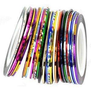 30Stück gemischt Farben Rollen Striping Tape Line Nail Art Tips Dekoration Aufkleber aus Crossover