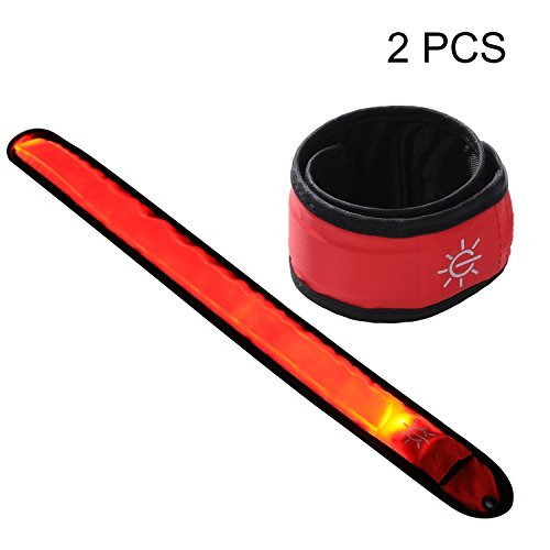 Techion 2 Pack LED Slap Armband/LED Snap on Bracelet with High Visibility for Cycling/Biking/Walking/Jogging/Running Gear (Red Pack)