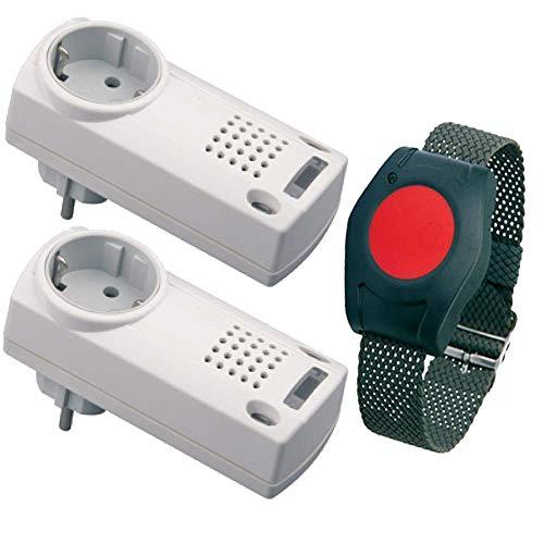 ELDAT Senioren Sicherheitspaket 3: Hausnotruf mit wasserdichtem Notrufarmband und Zwei Funk Empfängern für die häusliche Pflege; Notrufsystem: 2X Rufmelder und SOS Notruf Armband; Pflegeruf Set