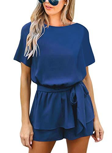 Roskiki Romper Women's Short-Sleeved Overlay Keyhole Jumpsuit, Königsblau, XL