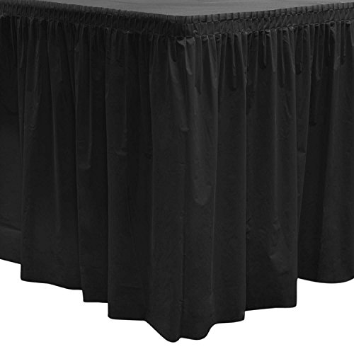 "Party Essentials 2908 Plastic Table Skirt, 96"" Length x 29"" Width, Black (Case of 6)"