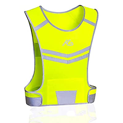 Reflective Running Vest Gear Ultralight & Comfortable Cycling Motorcycle Reflective Vest-Large Zippered Inside Pocket & Adjustable Waist- High Visibility Night Running Safety Vest (Yellow, XXL)