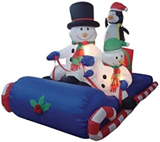 6 Foot Long Inflatable Christmas Snowmen & Penguin Sitting on a Sleigh