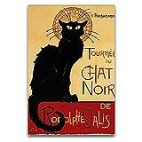 Black CAT Chat Noir Rodolphe SALIS Paris Vintage Art Lienzo de pared, arte artístico moderno para decoración de pared, panel sin marco, arte de pared para lienzo, póster y arte de pared moderno