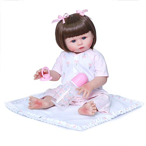 Best Price Huluda 47cm Realistic Doll Full Soft Vinyl Toddler Babies Lifelike Blue Eye Girl Gifts