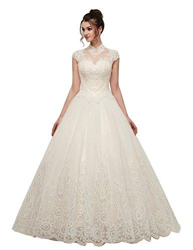 YSMei Women's Lace Applique Wedding Dresses High Neck Open Back Bridal Gown Lace Ivory Size 18