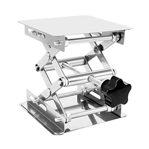 Mesa Elevadora de Laboratorio 100 x 100 mm Plataforma Elevadora de Laboratorio de Acero Inoxidable para Experimento Científico, Capacidad de Carga 10kg