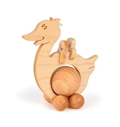 TEMPELWELT Deko Figur Rolltier Ente 11 x 9 cm, Holz Buche mit 4cm Holzkugel, Holzdeko Schiebetier Rolli, Geschenk Geburtstag Kind, Handarbeit Europa