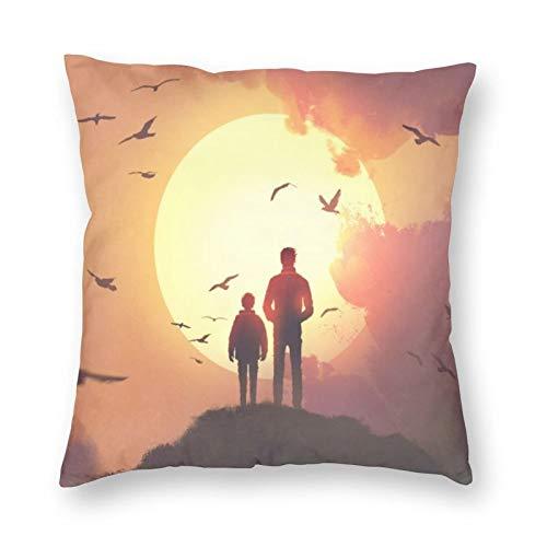 NiBBuns Funda de almohada decorativa Daddy Son Top Mountain Orange Sky Happy Fathers Day,Funda de cojín cuadrada estándar para hombres mujeres decoración del hogar, 45,7 x 45,7 cm