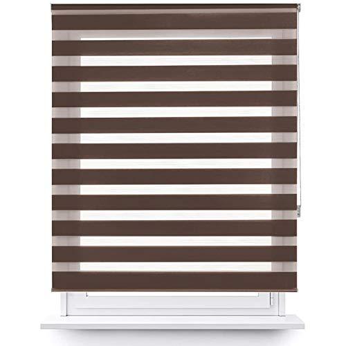 MERCURY TEXTIL Estor Enrollable de Doble Capa, Noche y Día, translúcido y oscurecido (160 x 180 cm, Marrón)
