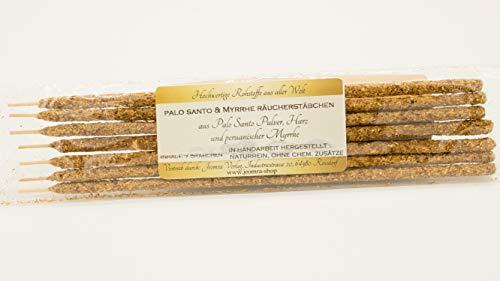 Jeomra 7 varillas de incienso Palo Santo y mirra en polvo puro de palo, aceite de santo y resina de mirra.