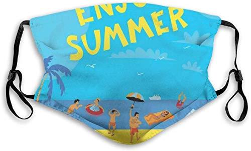 Moda cómoda y resistente al viento, personas que se divierten en una playa tropical, estilo de dibujos animados, para vacaciones de verano, decoraciones faciales impresas unisex S-S