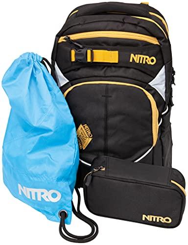 Nitro Superhero, Schulrucksackset, Rucksack, Backpack, abnehmbarer Hüftgurt, robuste Bodenplatte, Thermotasche, Laptopfach, Turnbeutel & Pencil Case XL,Golden Black