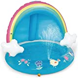 HYQ Piscina Infantil Hinchable, PVC Rainbow Splash Pool con El Pabellón del Agua De Riego para Los Niños De Edades 1-3, Spray Piscina De 40 Pulgadas