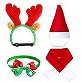 4 Piezas Sombrero Bufanda de Santa Navidad de Gato Perro Lindo Cuello Pajarita Cornamenta de Reno de Navidad con Oreja Diadema Accesorio de Disfraz de Navidad para Gatito Cachorro Pequeñas Mascotas