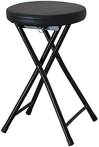 DINGZXC Silla de Oficina Silla de Exterior,Plegable Portátil Taburete de Metal Redondo,Sillas Tapizadas para el Hogar Ligero/Negro / 49×30×30cm