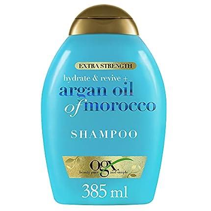 OGX Champú Hidratante sin Sulfatos ni Parabenos para Pelo Dañado, Aceite de Argan de Marruecos, Extra Strength, 385 ml